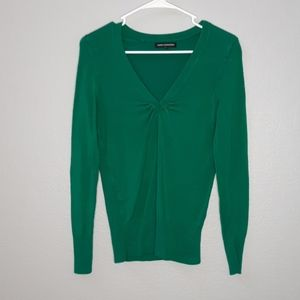 Express Green V Neck Ruched Front Sweater